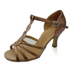 Women's Patent Leather Heels Sandals Latin Ballroom With T-Strap Dance Shoes