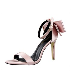Women's Silk Like Satin Stiletto Heel Pumps Peep Toe With Bowknot shoes