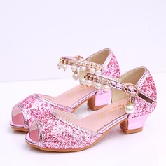 Girl's Peep Toe Leatherette Sparkling Glitter Low Heel Sandals Flower Girl Shoes With Beading