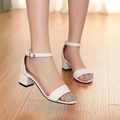 Women's Leatherette Chunky Heel Sandals Pumps Peep Toe shoes