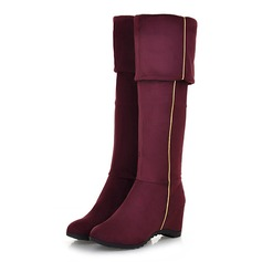 Women's Suede Low Heel Over The Knee Boots With Zipper shoes
