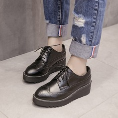 Women's PU Wedge Heel Platform Wedges With Lace-up shoes (086138420)
