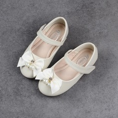 Girl's Closed Toe Ballet Flat Microfiber Leather Flat Heel Flats Flower Girl Shoes With Bowknot Imitation Pearl Rhinestone Velcro
