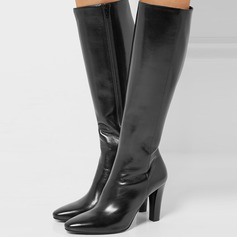 Women's Real Leather Stiletto Heel Pumps Boots With Zipper shoes (088109435)