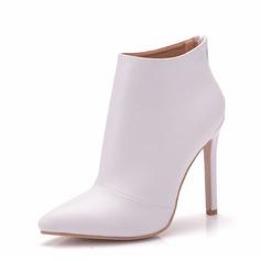 Женщины кожа Высокий тонкий каблук Ботинки На каблуках