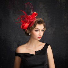 Ladies' Elegant Feather/Tulle/Linen With Feather Fascinators