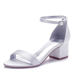 Women's Silk Like Satin Chunky Heel Peep Toe Sandals With Buckle
