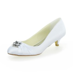 Women's Satin Kitten Heel Closed Toe Pumps With Rhinestone