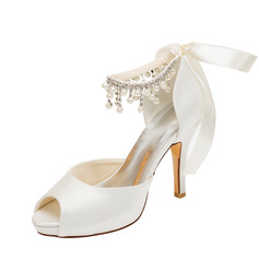 Kvinnor siden som satin Stilettklack Peep Toe Pumps (047096507)