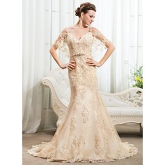 Trumpet/Mermaid Off-the-Shoulder Chapel Train Lace Wedding Dress With Beading Sequins