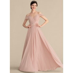 A-Line/Princess Sweetheart Floor-Length Chiffon Prom Dresses With Ruffle Lace Beading