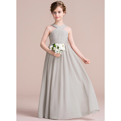 V-neck Floor-Length Chiffon Junior Bridesmaid Dress With Ruffle Bow(s) (268193423)