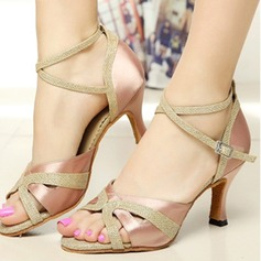 Women's Satin Heels Pumps Latin With Ankle Strap Dance Shoes