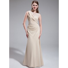 Sheath/Column Scoop Neck Floor-Length Chiffon Prom Dress With Ruffle Beading Flower(s)