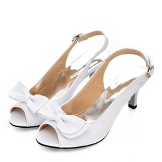 Women's Leatherette Stiletto Heel Peep Toe Slingbacks With Bowknot