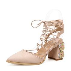 Donna Camoscio Tacco spesso Stiletto Punta chiusa Con cinturino con Allacciato scarpe