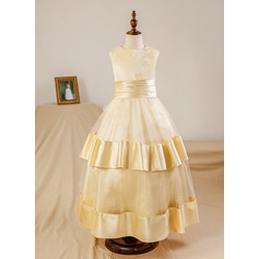 Ball Gown Floor-length Flower Girl Dress - Satin/Tulle Sleeveless Scoop Neck With Ruffles (Petticoat NOT included)