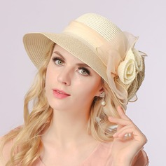 Ladies' Elegant Raffia Straw With Silk Flower Beanie/Slouchy