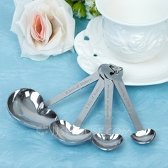 """Love Beyond Measure"" Heart Shaped Stainless Steel Spoon Set With Ribbons/Tag"