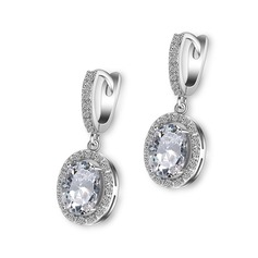 Elegant Copper/Zircon With Cubic Zirconia Ladies' Earrings