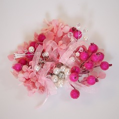 Ladies Special Imitation Pearls/Silk Flower Hairpins With Venetian Pearl