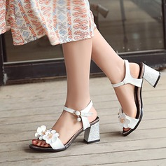 Women's Leatherette Chunky Heel Sandals Peep Toe Slingbacks With Flower shoes