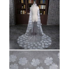 One-tier Cut Edge Cathedral Bridal Veils With Satin Flower