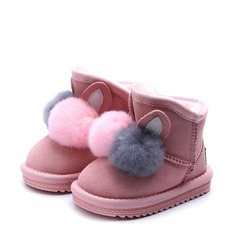 Girl's Closed Toe Snow Boots Suede Flat Heel Boots With Zipper
