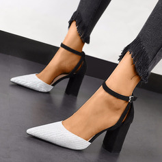 Women's Leatherette Chunky Heel Pumps With Buckle shoes (085236362)