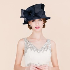 Dames Betoverend/Klassiek/Elegant Batist met Feather Bowlingspeler / Glazen kap Hat/Kentucky Derby Hats