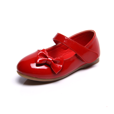 Girl's Leatherette Flat Heel Closed Toe Flats With Bowknot (207095531)