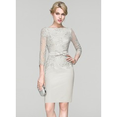 Sheath/Column Scoop Neck Knee-Length Satin Cocktail Dress With Beading Sequins Bow(s)