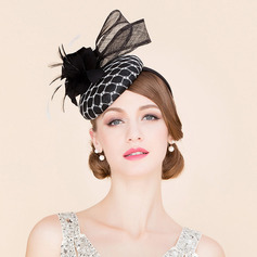 Ladies' Glamourous/Eye-catching Cambric With Feather Fascinators/Tea Party Hats