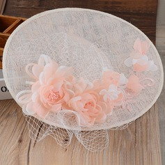 Ladies' Elegant Cambric/Lace With Silk Flower Floppy Hat