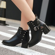 Women's PU Chunky Heel Pumps Ankle Boots With Rivet Buckle Zipper shoes