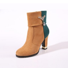 Women's Suede Chunky Heel Platform Ankle Boots With Rhinestone shoes