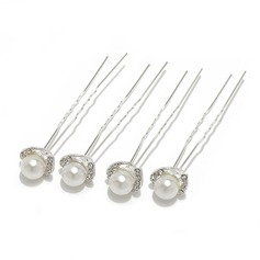Charming Alloy/Pearl Hairpins (Set of 4)