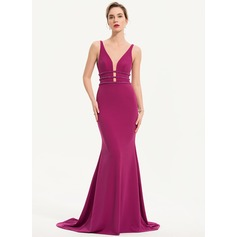 Trumpet/Mermaid V-neck Sweep Train Jersey Evening Dress With Beading