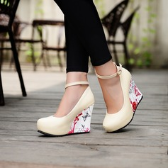 Women's Leatherette Wedge Heel Wedges With Buckle Jewelry Heel shoes