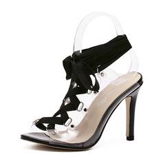 Women's PVC Stiletto Heel Sandals Pumps Peep Toe Slingbacks With Lace-up shoes