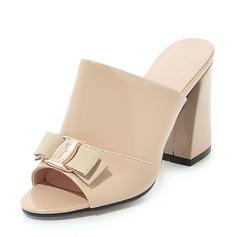 Frauen Lackleder Stämmiger Absatz Sandalen Absatzschuhe Peep Toe Slingpumps mit Bowknot Schuhe