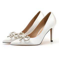 Women's Stiletto Heel Closed Toe Pumps Sandals With Rhinestone Pearl