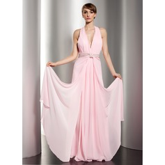 A-Line/Princess Halter Floor-Length Chiffon Holiday Dress With Ruffle Beading (020014591)