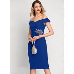 Sheath/Column Off-the-Shoulder Knee-Length Stretch Crepe Cocktail Dress With Beading