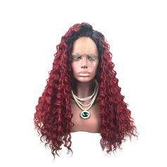 Curly Synthetic Hair Lace Front Wigs 380g