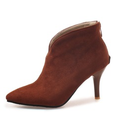 Women's Suede Stiletto Heel Pumps Closed Toe Boots Ankle Boots With Zipper shoes