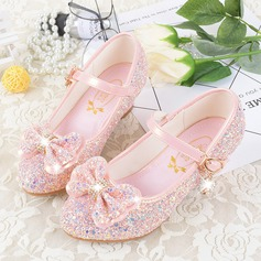 Girl's Closed Toe Leatherette Flat Heel Flower Girl Shoes With Bowknot Buckle Sparkling Glitter