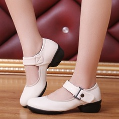 Women's Real Leather Flats Practice With Ankle Strap Dance Shoes