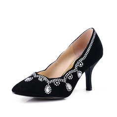 Real Leather Stiletto Heel Pumps Closed Toe With Rhinestone shoes