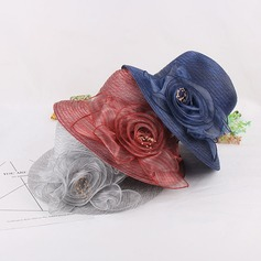 Ladies' Beautiful/Elegant/Vintage Organza With Silk Flower Bowler/Cloche Hat